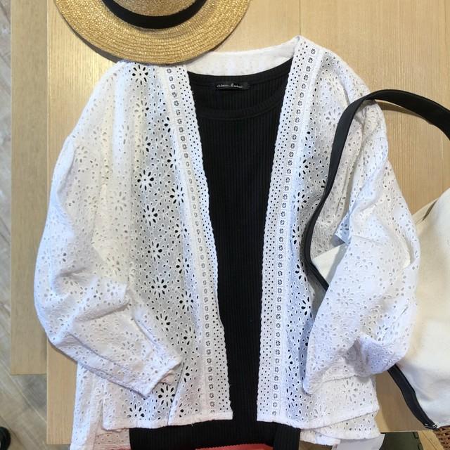 yuni インドレース刺繍バルーンスリーブカーディガン