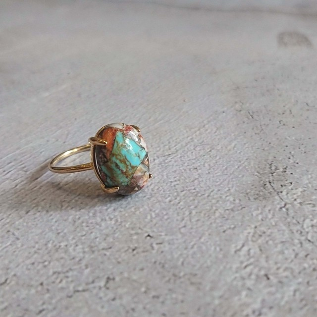 12kgp Silver925 Gem stone Ring Copper Turquoise