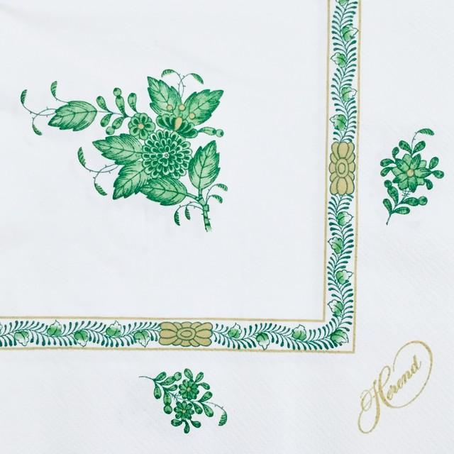 【Herend】バラ売り1枚 ランチサイズ ペーパーナプキン APPONYI グリーン×ゴールドパール