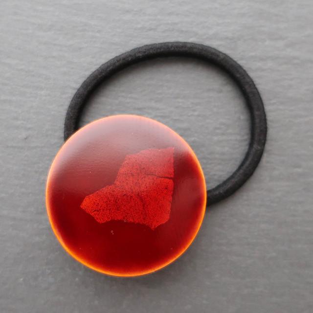飛騨春慶塗 ヘアゴム 円 黄×箔 (H001)