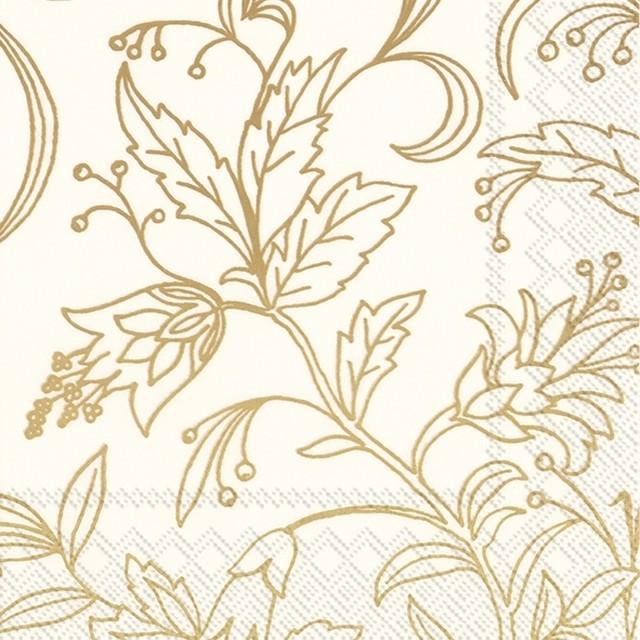 2021秋冬【IHR】バラ売り2枚 ランチサイズ ペーパーナプキン GOLDEN FLOWER クリームxゴールド