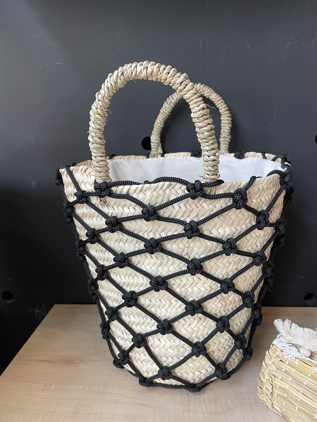 ロープ編みバケツバスケット(white)