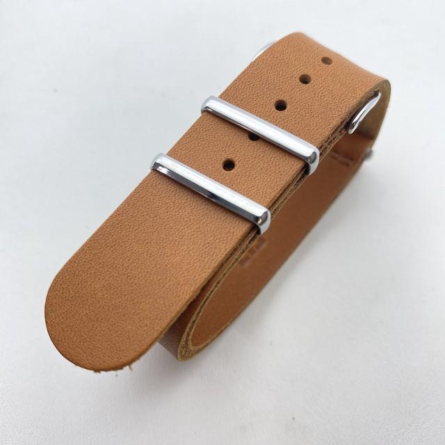 【FIF belt】 オイルレザー NATO ストラップ キャメル 20mm 腕時計ベルト