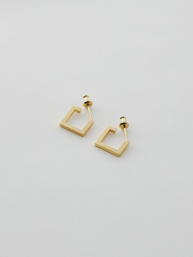 WEISS Pair Square Earring Gold wei-pigd-17p