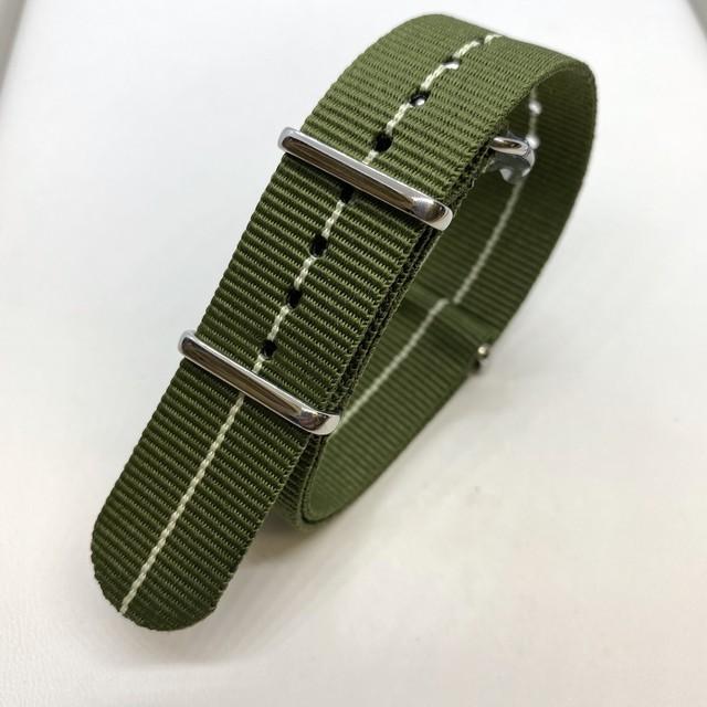 NATOナイロンストラップ マリンナショナル カーキ・グリーン/ベージュ 20mm 腕時計ベルト