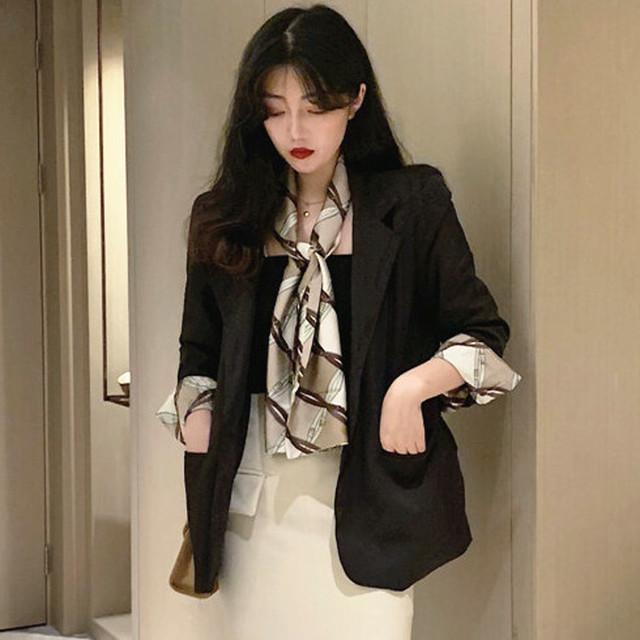【アウター】韓国系シングルブレスト折襟切り替え無地スーツ23270025