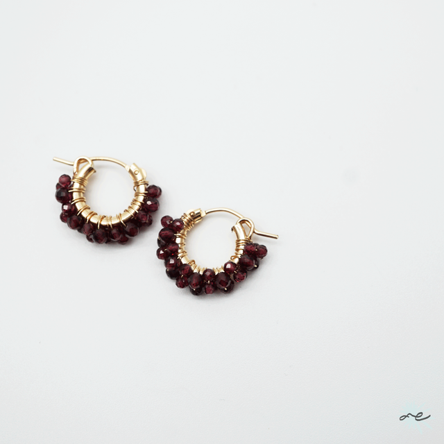 Garnet Hoop Earrings/14KGF