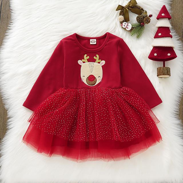 【ワンピース】クリスマスカートゥーンメッシュ長袖キュートガールズワンピース24439980