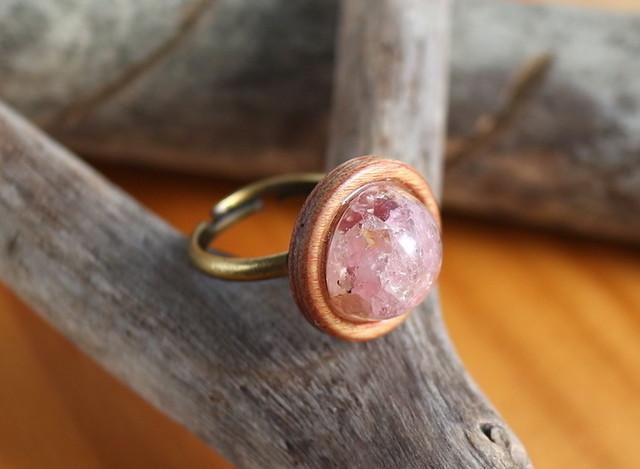 指輪♦︎木のぬくもり トルマリンドーム アンティーク風