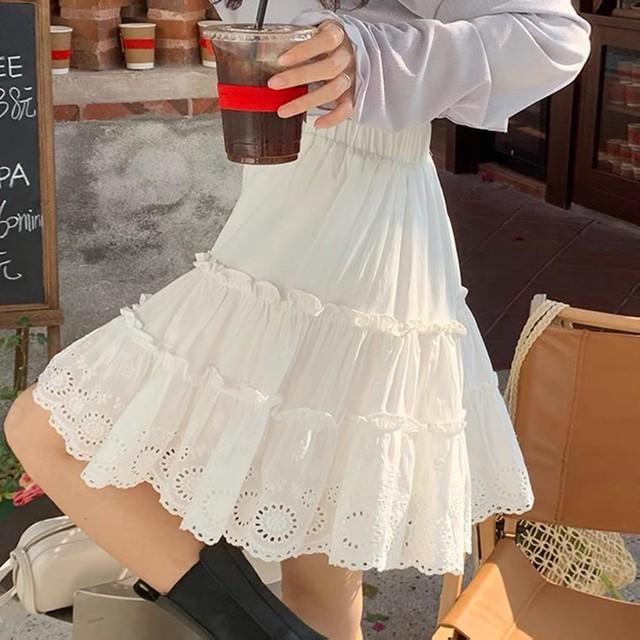 ナチュラルガーリー♡アイレットフリルスカート B0407