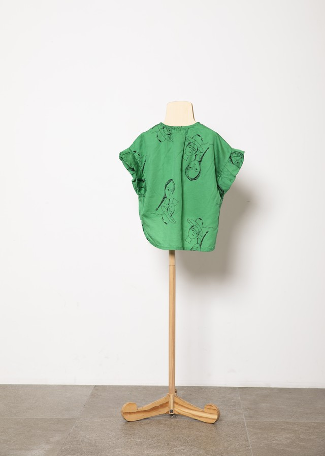 【21SS】folkmade(フォークメイド) face print blouse ブラウス green(S/M/L)
