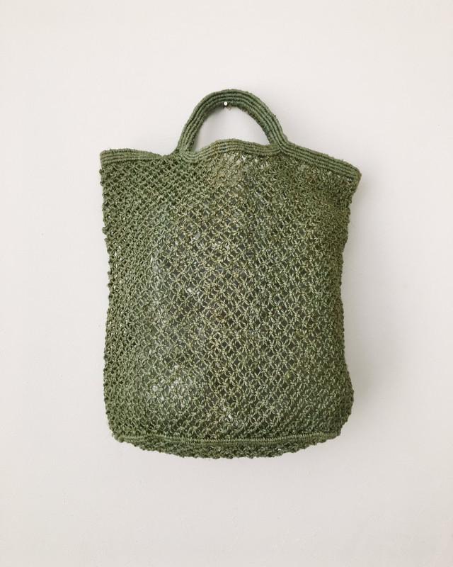 ジュート麻のショッピングバッグ(グレイ)|Jute macrame shopping bag Grey