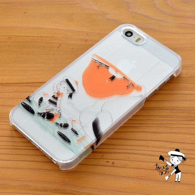 【BASE店限定】アイフォンse ケース クリア iPhoneSE クリアケース キラキラ 鳥 水夫とペリカン/あひるカフェ