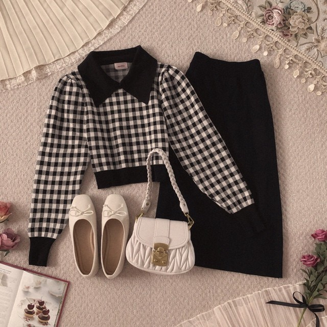 【meltie】gingham collar set-up