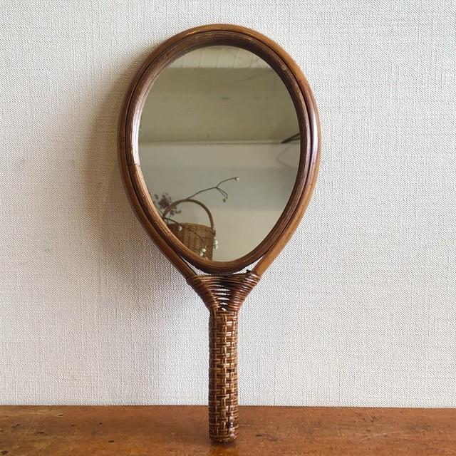 ラタン手鏡