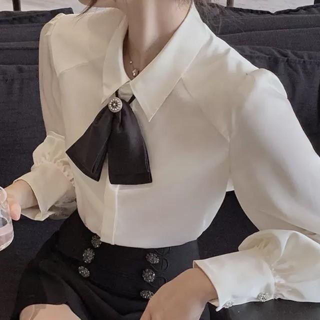 ボウタイ リボン シャツ ブラウス シンプル ホワイト ワンカラー B7096
