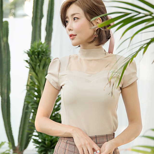 【試着サービス】Heart Neck See Through T-Shirt (Beige) Sサイズ