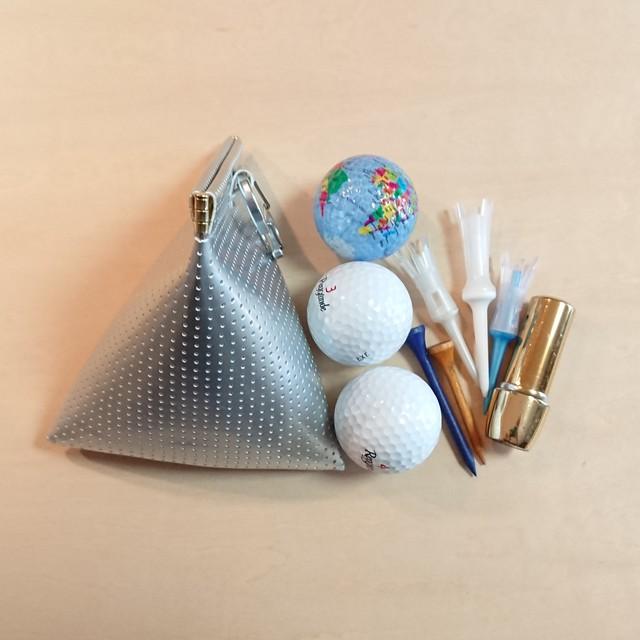 三角型 ゴルフボールケース☆ボール3個用 シルバー