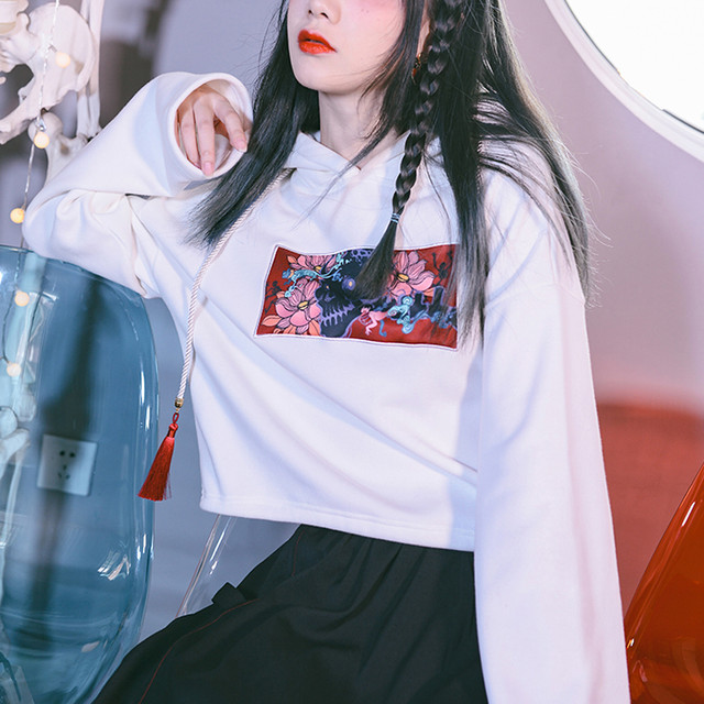 【古怪舍---淬魂シリーズ】チャイナ風パーカー ホワイト 白い ショート丈 フード付き S M L 合わせやすい