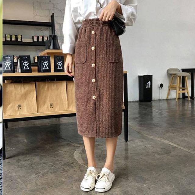 【bottoms】スカート単れたうボタンストレッチ入りスリット