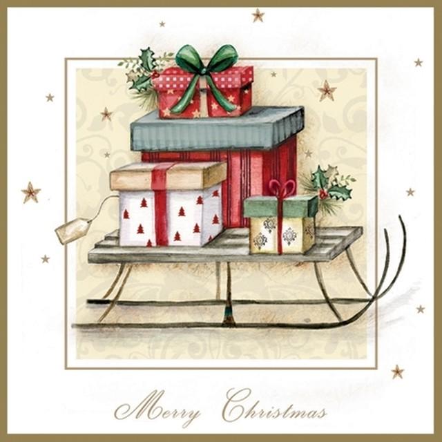 2021秋冬【ti-flair】バラ売り2枚 ランチサイズ ペーパーナプキン Merry Christmas Sleigh ホワイト