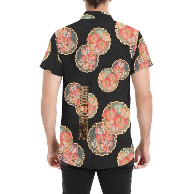 桜家紋蝶 黒 和柄アロハシャツ
