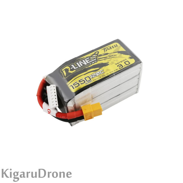 【6S 1550mAh Lipo】Tattu R-Line Version 3.0 1550mAh 22.2V 120C 6S1P Lipo Battery Pack with XT60 コネクター