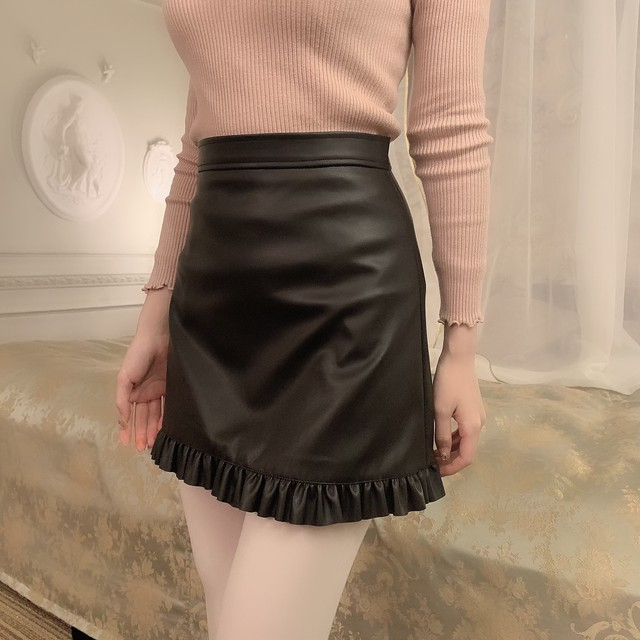French leather skirt