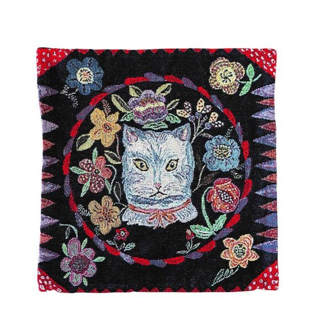 Nathalie Lete Cushion Cover Blue Cat