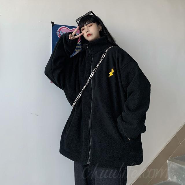 【アウター】韓国系ハイネック無地刺繍ジッパージャケット36976797