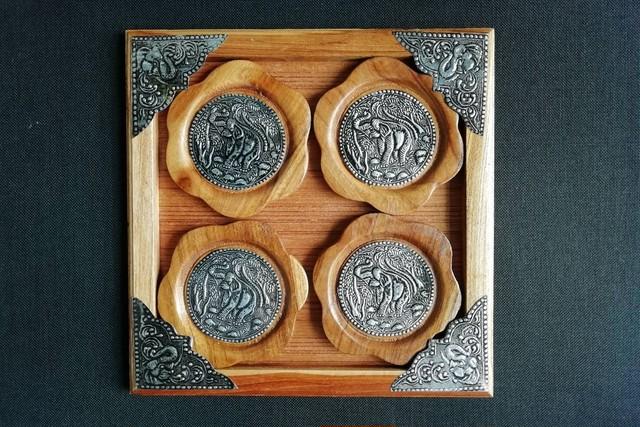 (OC001) 象柄のコースター(モン族製)