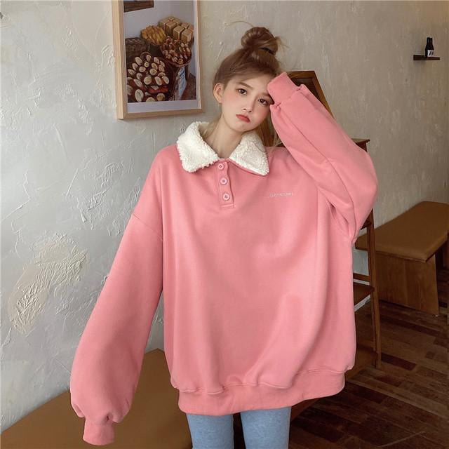 【トップス】キュートファッションシンプルかわいい系無地パーカー37932429