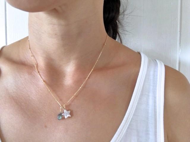 Hoku スターパールと天然石のネックレス