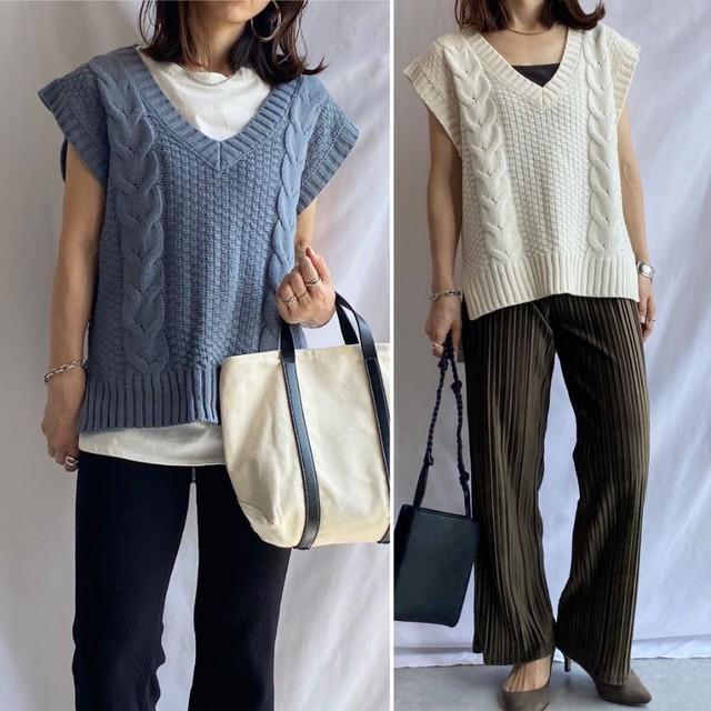 ◆即納※9月上旬販売開始予定◆ケーブル編み  Vネック ざっくり ニットベストSC1-0006-CA