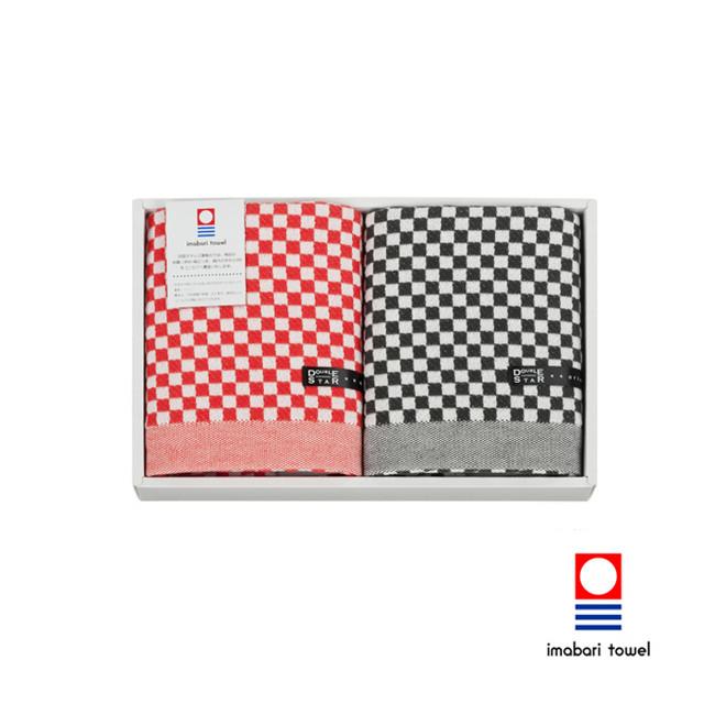 赤×黒 大人のチェックギフト フェイス×2タオルセット