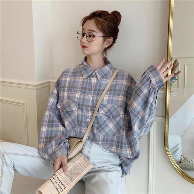 ビッグシルエット・パステルチェック柄バルーン袖シャツ