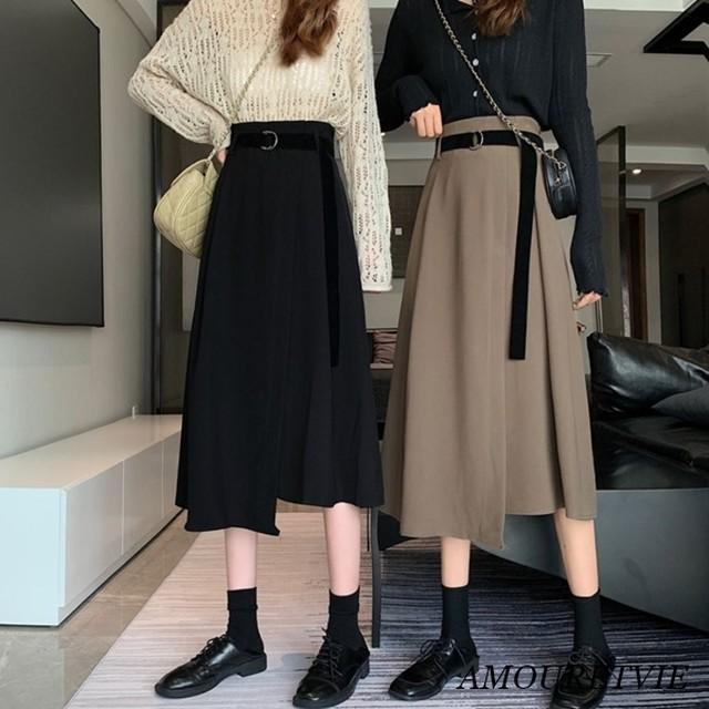 【アシンメトリー】ハイウエストAラインスカート ベルト付き 2187