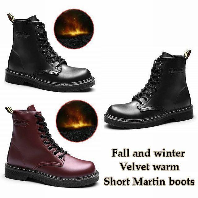 レディースブーツ ショートブーツ ミリタリー ショートブーツ レースアップブーツ / Fall and winter velvet warm short Martin boots leather (DCT-576148158806)