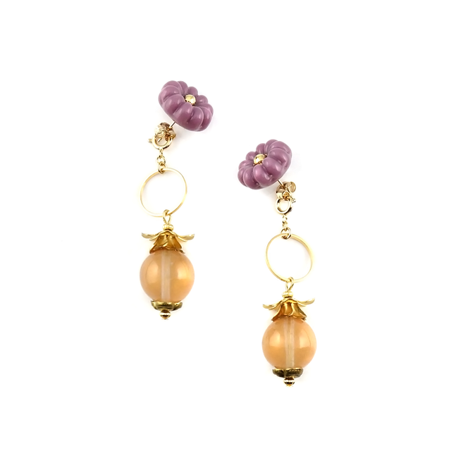 "【2way】 flower glass_vintage_pierce ""lilac × peach juice"""