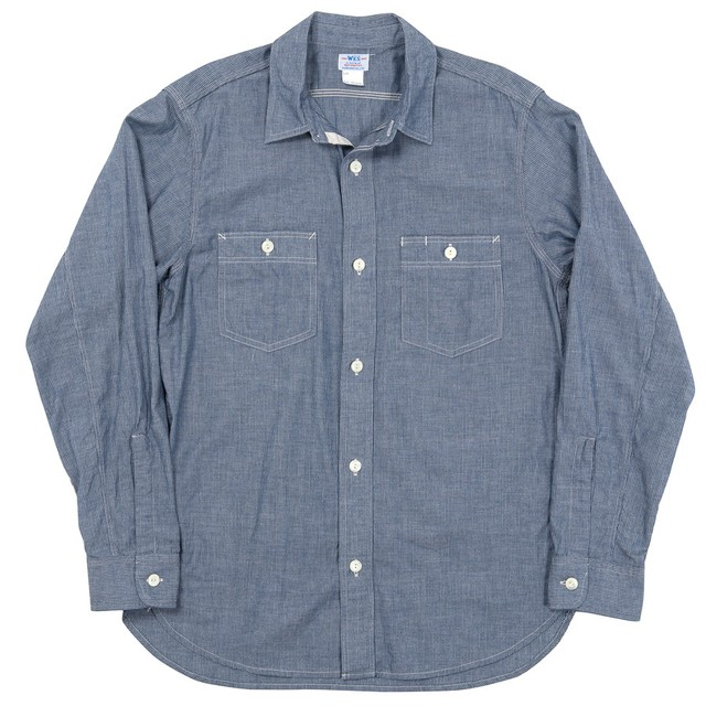 WORKERS / Lt Work Shirt, Lt Chambray, Stripe