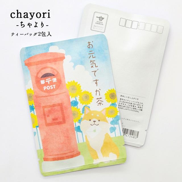 お元気ですか茶(ひまわりと柴犬)|chayori |玉露ティーバッグ2包入|お茶入りポストカード