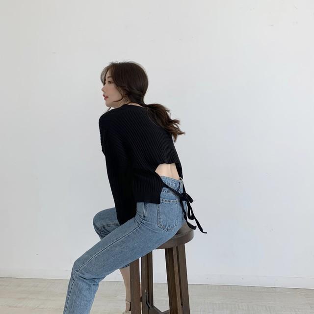 【50%OFF SALE】back ribbon knit / black (即納)