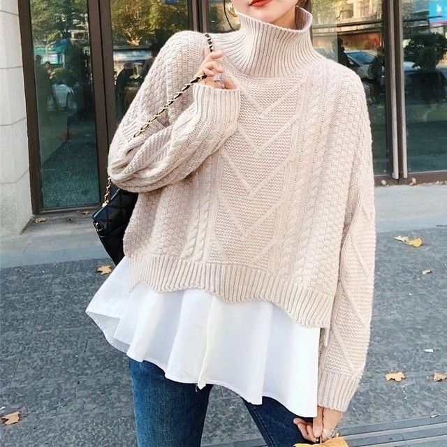 Turtleneck Sweater w/Short Blouse T599