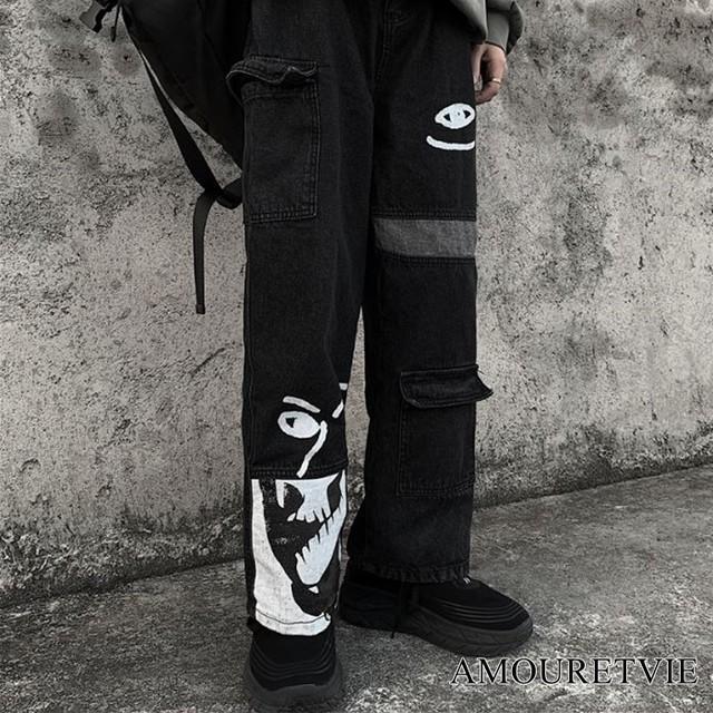 ボトムス カジュアル レディース メンズ ユニセックス ストリート 黒 ブラック 原宿 アシンメトリー カジュアルパンツ オルチャン 韓国ファッション 1125