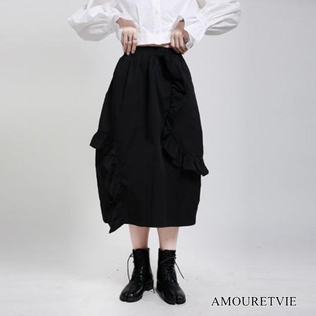 ロングスカート バルーン スマート スタイリッシュ アシンメトリー 黒 ブラック モダン モード系 ヴィジュアル系 1675