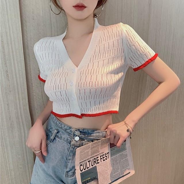 【トップス】ファッション半袖シングルブレストVネックショート丈シャツ46876195