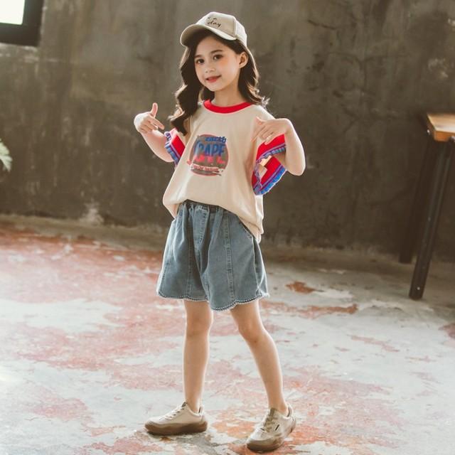 【セット】ファッション配色プリントアルファベット女の子デニムセットアップ27302906