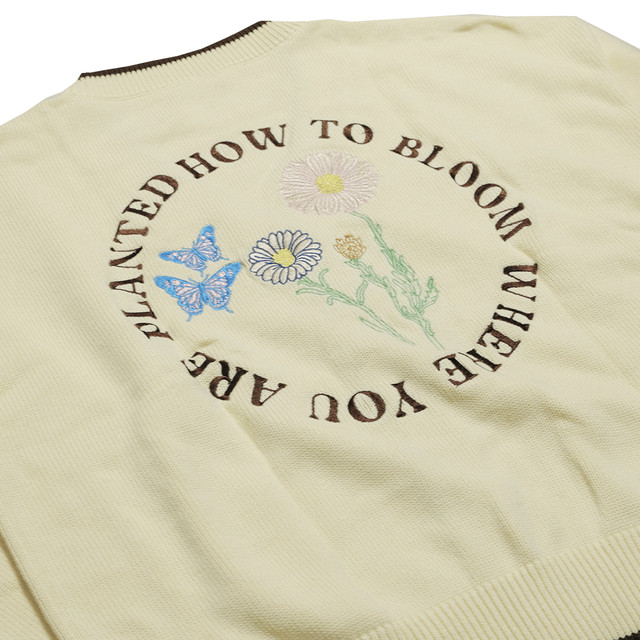【Cat & Parfum】How to Bloom Where You Are Planted Embroidery Knit Cardigan