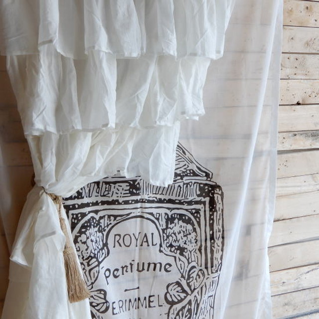 TOPANGA INTERIOR COTTON VOILE RUFFLED CURTAIN コットンボイルラッフルカーテン W105xH240cm
