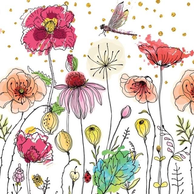 【MICHEL DESIGN WORKS】バラ売り1枚 ランチサイズ ペーパーナプキン Posies ホワイト